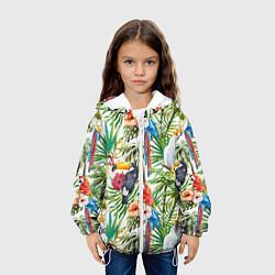Куртка с капюшоном детская Попугаи в тропиках цвета 3D-белый — фото 2
