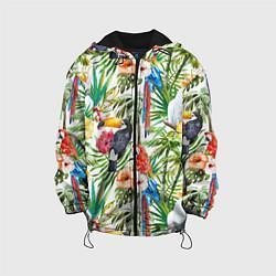 Детская 3D-куртка с капюшоном с принтом Попугаи в тропиках, цвет: 3D-черный, артикул: 10065274405458 — фото 1