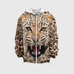 Куртка с капюшоном детская Взгляд леопарда цвета 3D-белый — фото 1