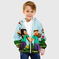 Детская 3D-куртка с капюшоном с принтом Minecraft Stories, цвет: 3D-белый, артикул: 10069704505458 — фото 2