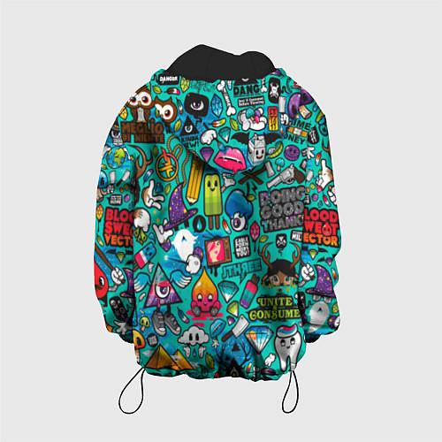 Детская куртка Стикербомбинг / 3D-Черный – фото 2