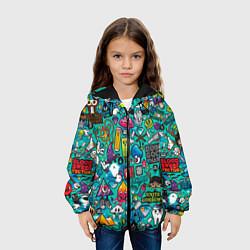 Куртка с капюшоном детская Стикербомбинг цвета 3D-черный — фото 2