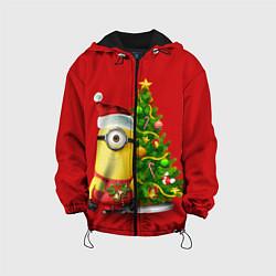 Детская 3D-куртка с капюшоном с принтом Ёлка миньона, цвет: 3D-черный, артикул: 10075746205458 — фото 1