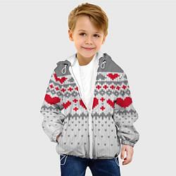 Детская 3D-куртка с капюшоном с принтом Узор с сердечками, цвет: 3D-белый, артикул: 10077706405458 — фото 2
