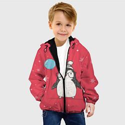 Детская 3D-куртка с капюшоном с принтом Влюбленная пингвинка, цвет: 3D-черный, артикул: 10079040805458 — фото 2