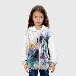 Куртка с капюшоном детская Акварельная лошадь цвета 3D-белый — фото 2