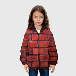 Детская 3D-куртка с капюшоном с принтом Кирпич, цвет: 3D-черный, артикул: 10081034905458 — фото 2