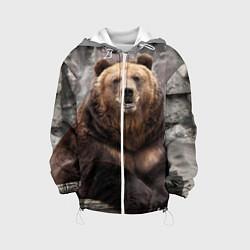 Детская 3D-куртка с капюшоном с принтом Русский медведь, цвет: 3D-белый, артикул: 10083169405458 — фото 1