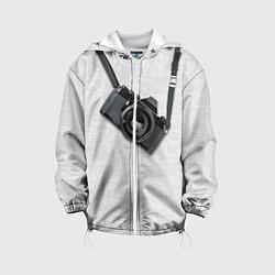 Куртка с капюшоном детская Фотоаппарат на груди цвета 3D-белый — фото 1