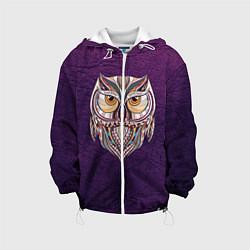 Детская 3D-куртка с капюшоном с принтом Расписная сова, цвет: 3D-белый, артикул: 10086919705458 — фото 1
