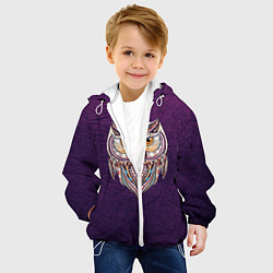 Куртка с капюшоном детская Расписная сова цвета 3D-белый — фото 2
