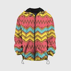 Куртка с капюшоном детская Цветные зигзаги цвета 3D-черный — фото 1
