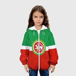Детская 3D-куртка с капюшоном с принтом Татарстан: флаг, цвет: 3D-белый, артикул: 10094275105458 — фото 2