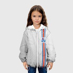 Куртка с капюшоном детская Сборная Исландии по футболу цвета 3D-белый — фото 2