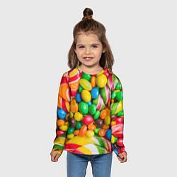 Лонгслив детский Сладкие конфетки цвета 3D — фото 2