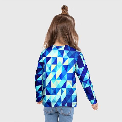 Детский лонгслив Синяя геометрия / 3D – фото 6