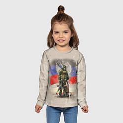 Лонгслив детский Солдат и дитя цвета 3D — фото 2