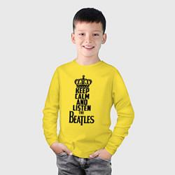 Лонгслив хлопковый детский Keep Calm & Listen Beatles цвета желтый — фото 2