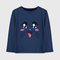 Лонгслив хлопковый детский Японская кошечка цвета тёмно-синий — фото 1