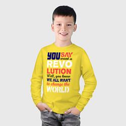 Лонгслив хлопковый детский The Beatles Revolution цвета желтый — фото 2