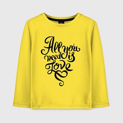 Лонгслив хлопковый детский All you need is love цвета желтый — фото 1
