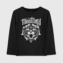 Лонгслив хлопковый детский Miss May I: Angry Lion цвета черный — фото 1