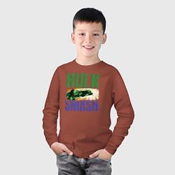 Лонгслив хлопковый детский Hulk SMASH цвета кирпичный — фото 2