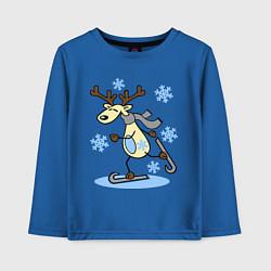 Лонгслив хлопковый детский Олень на лыжах цвета синий — фото 1