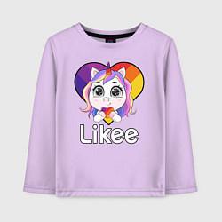 Лонгслив хлопковый детский Likee LIKE Video цвета лаванда — фото 1