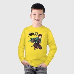 Лонгслив хлопковый детский KIMETSU NO YAIBA цвета желтый — фото 2