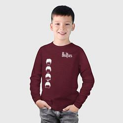 Лонгслив хлопковый детский Beatles цвета меланж-бордовый — фото 2
