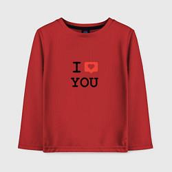 Лонгслив хлопковый детский I love you цвета красный — фото 1