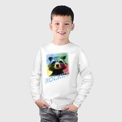 Лонгслив хлопковый детский ROCKET цвета белый — фото 2
