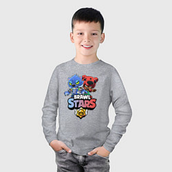 Лонгслив хлопковый детский Brawl Stars Leon & Nita цвета меланж — фото 2