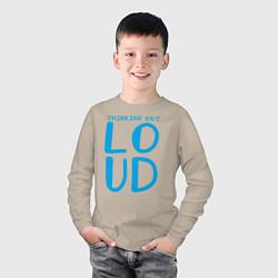 Лонгслив хлопковый детский Thinking Out: Loud цвета миндальный — фото 2