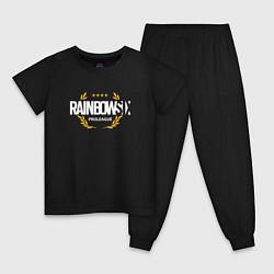 Пижама хлопковая детская Rainbow six | Siege : Pro league (white) цвета черный — фото 1
