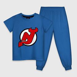 Пижама хлопковая детская New Jersey Devils цвета синий — фото 1