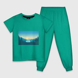 Пижама хлопковая детская Олень у озера цвета зеленый — фото 1