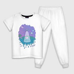 Пижама хлопковая детская Alien цвета белый — фото 1