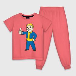 Пижама хлопковая детская Fallout Boy цвета коралловый — фото 1