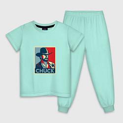 Пижама хлопковая детская Chuck Poster цвета мятный — фото 1