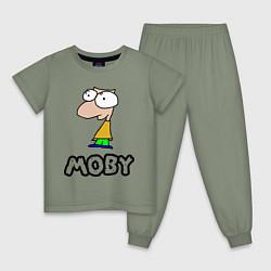Пижама хлопковая детская Moby цвета авокадо — фото 1