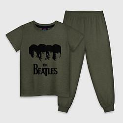 Пижама хлопковая детская The Beatles: Faces цвета меланж-хаки — фото 1