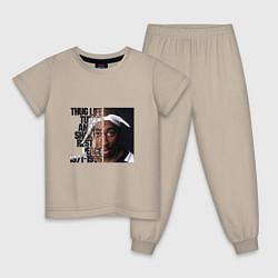 Пижама хлопковая детская Tupac: 1971-1996 цвета миндальный — фото 1