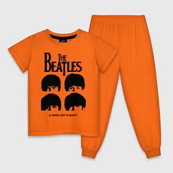 Пижама хлопковая детская A Hard Days Night цвета оранжевый — фото 1