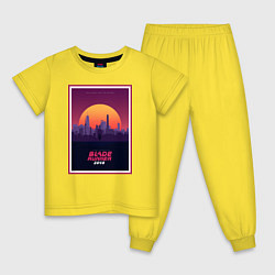 Пижама хлопковая детская Бегущий по лезвию 2049 цвета желтый — фото 1