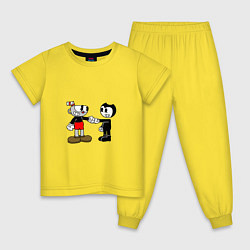 Пижама хлопковая детская Cuphead: Bendy цвета желтый — фото 1