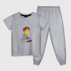 Пижама хлопковая детская Bart: Lil Peep цвета меланж — фото 1