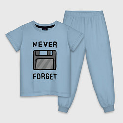 Пижама хлопковая детская Never Forget цвета мягкое небо — фото 1