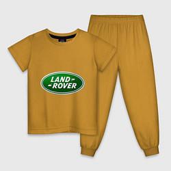Пижама хлопковая детская Logo Land Rover цвета горчичный — фото 1